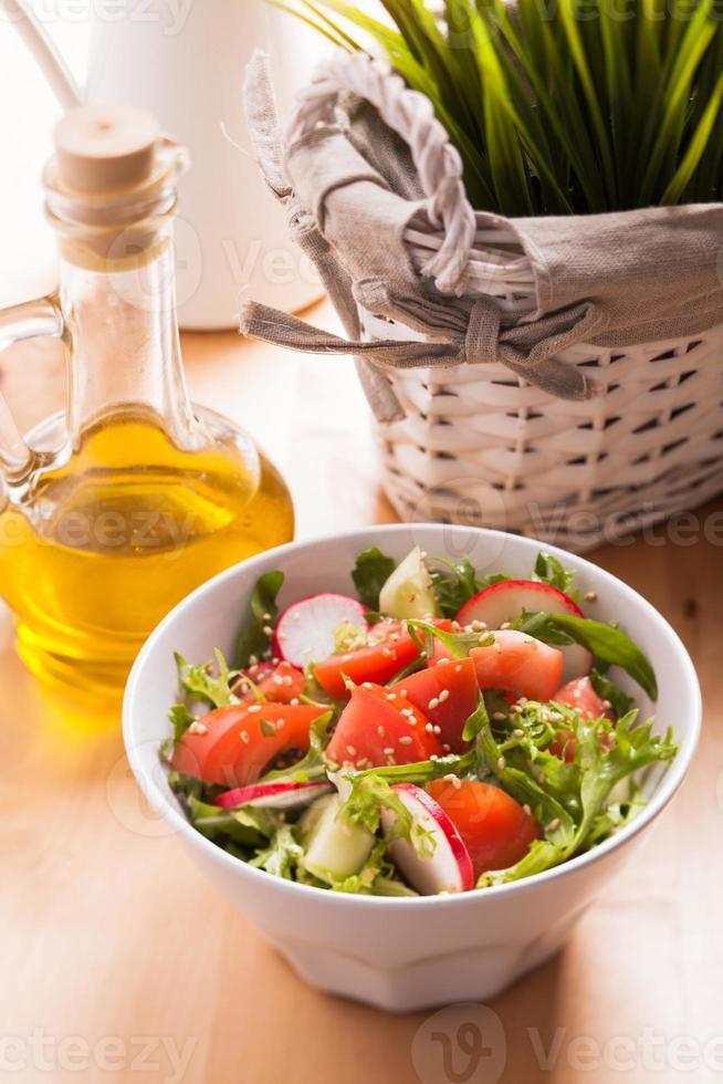 Salad with sesame seeds photo