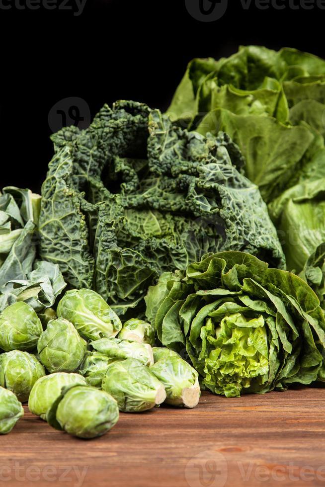 Assortment of green vegetables photo