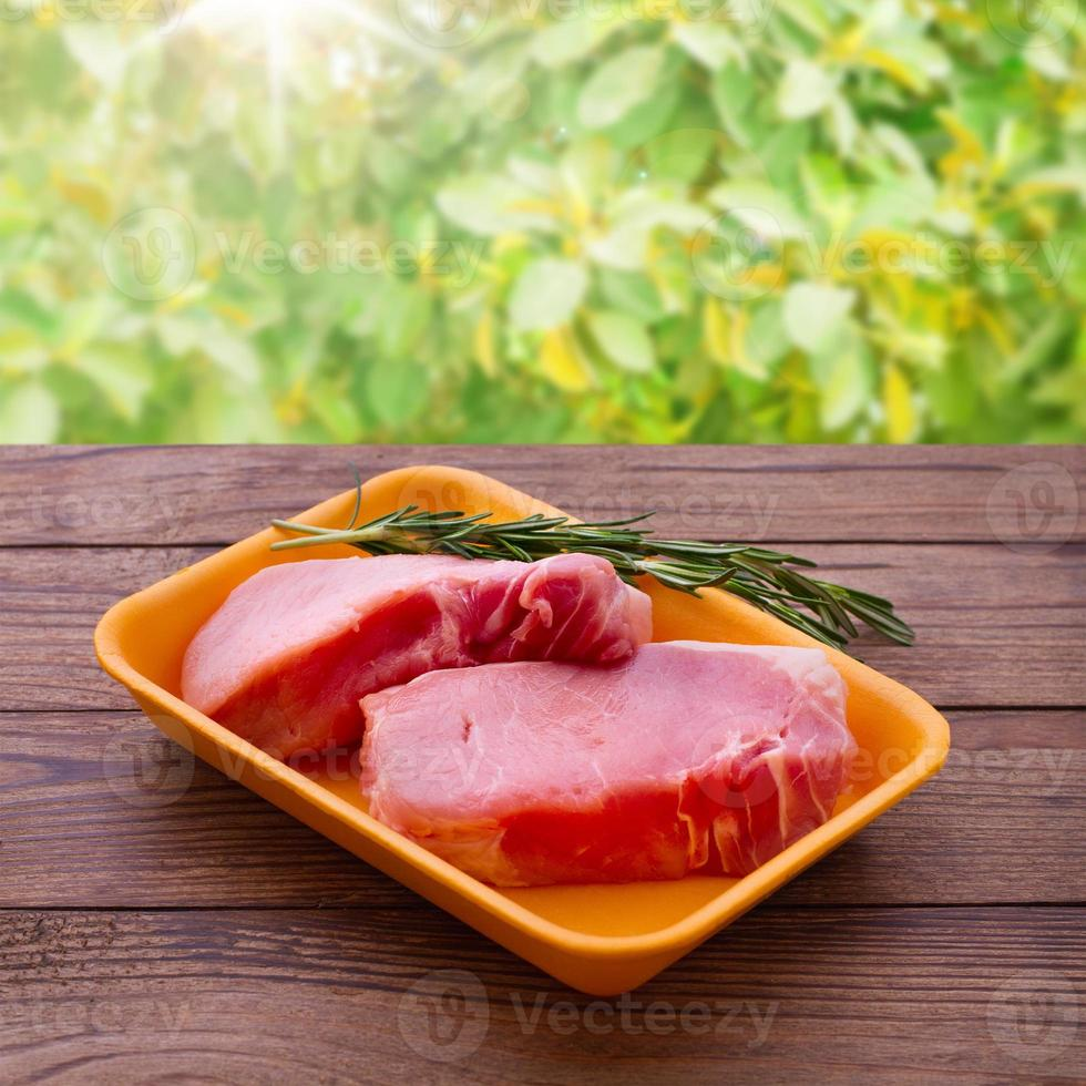 Sliced pieces of raw Meat for barbecue photo