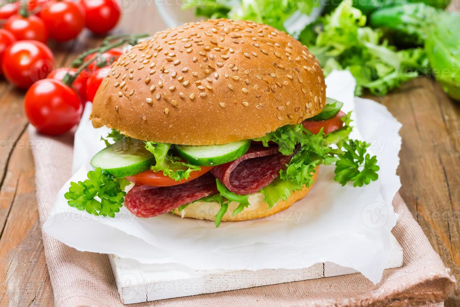Sandwich with ham and vegetables photo