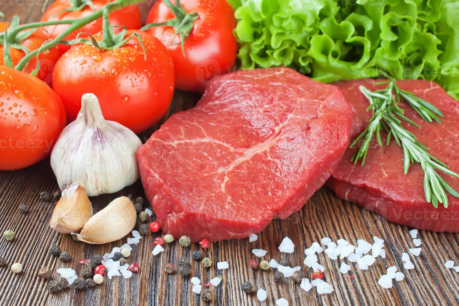Raw beef steak with vegetables and spices photo