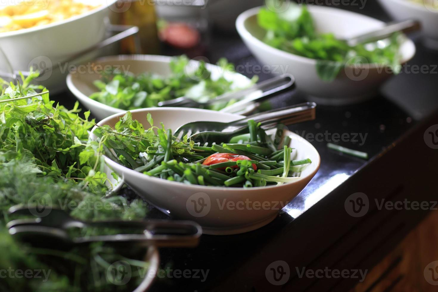 Plates with greens photo