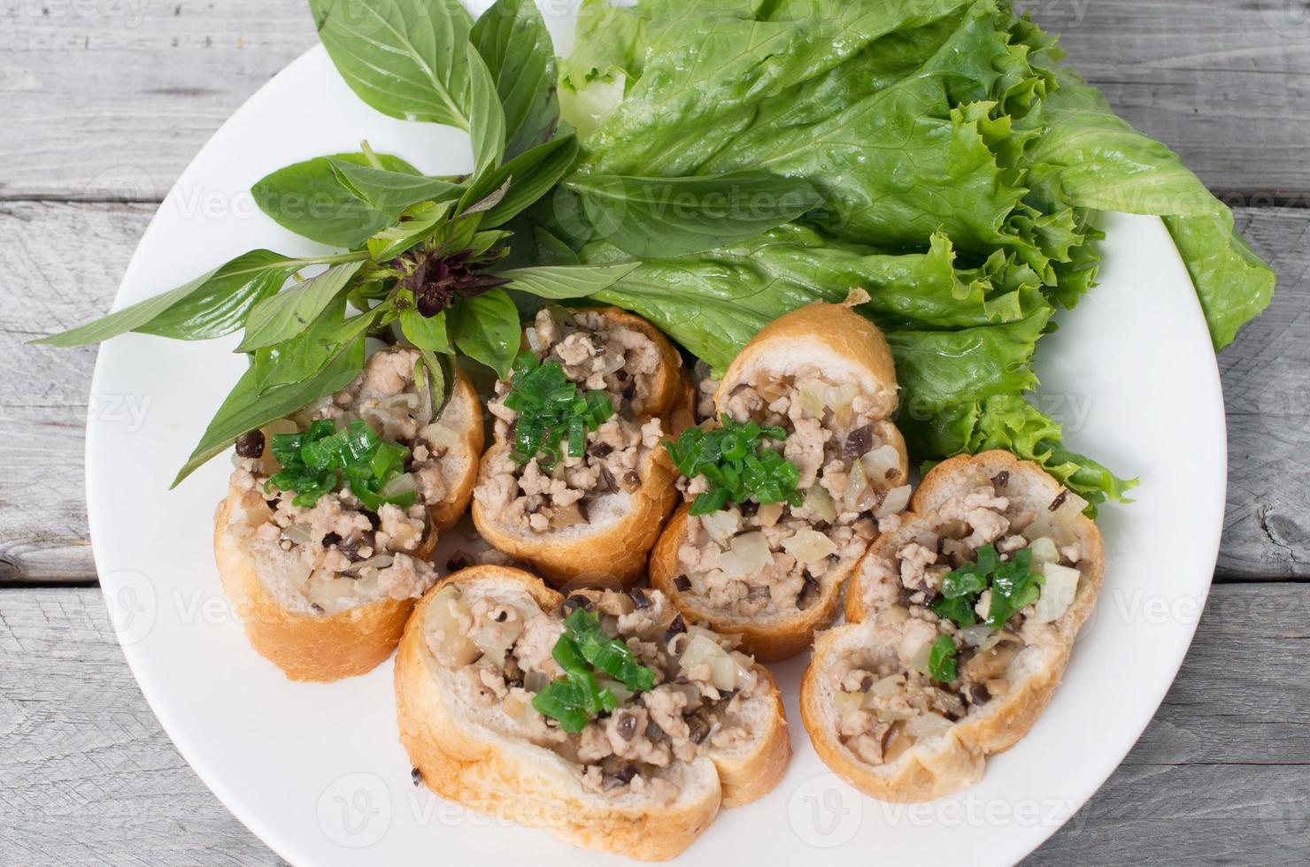 Vietnamese steamed bread with pork photo
