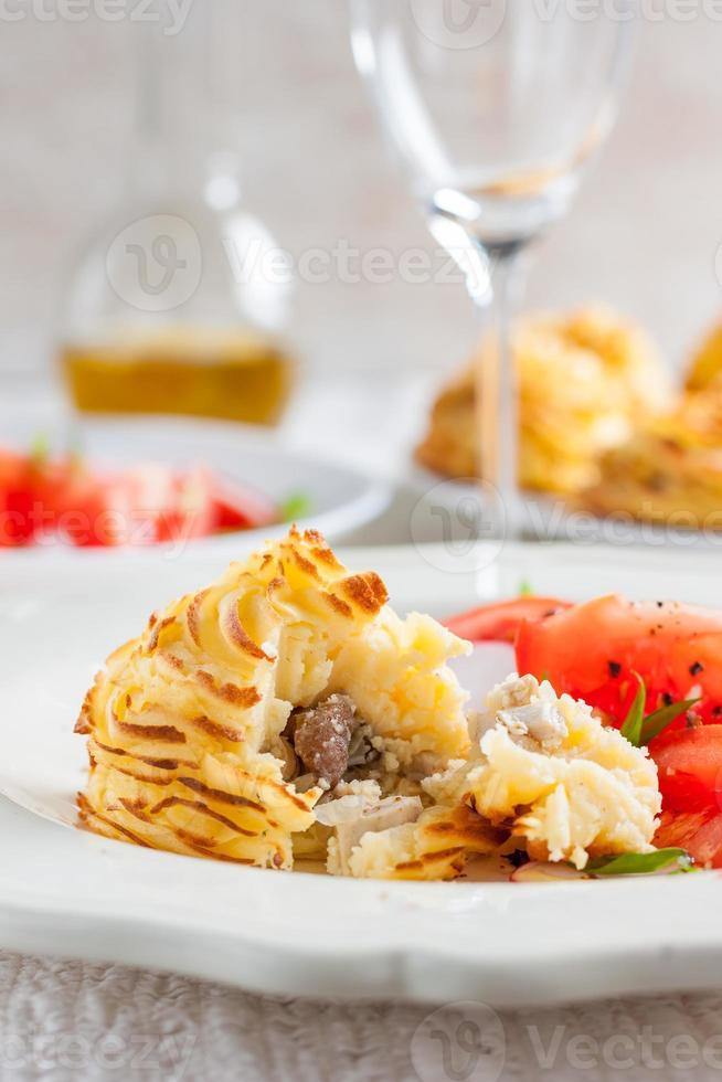 duchesse potatoes with mushrooms photo