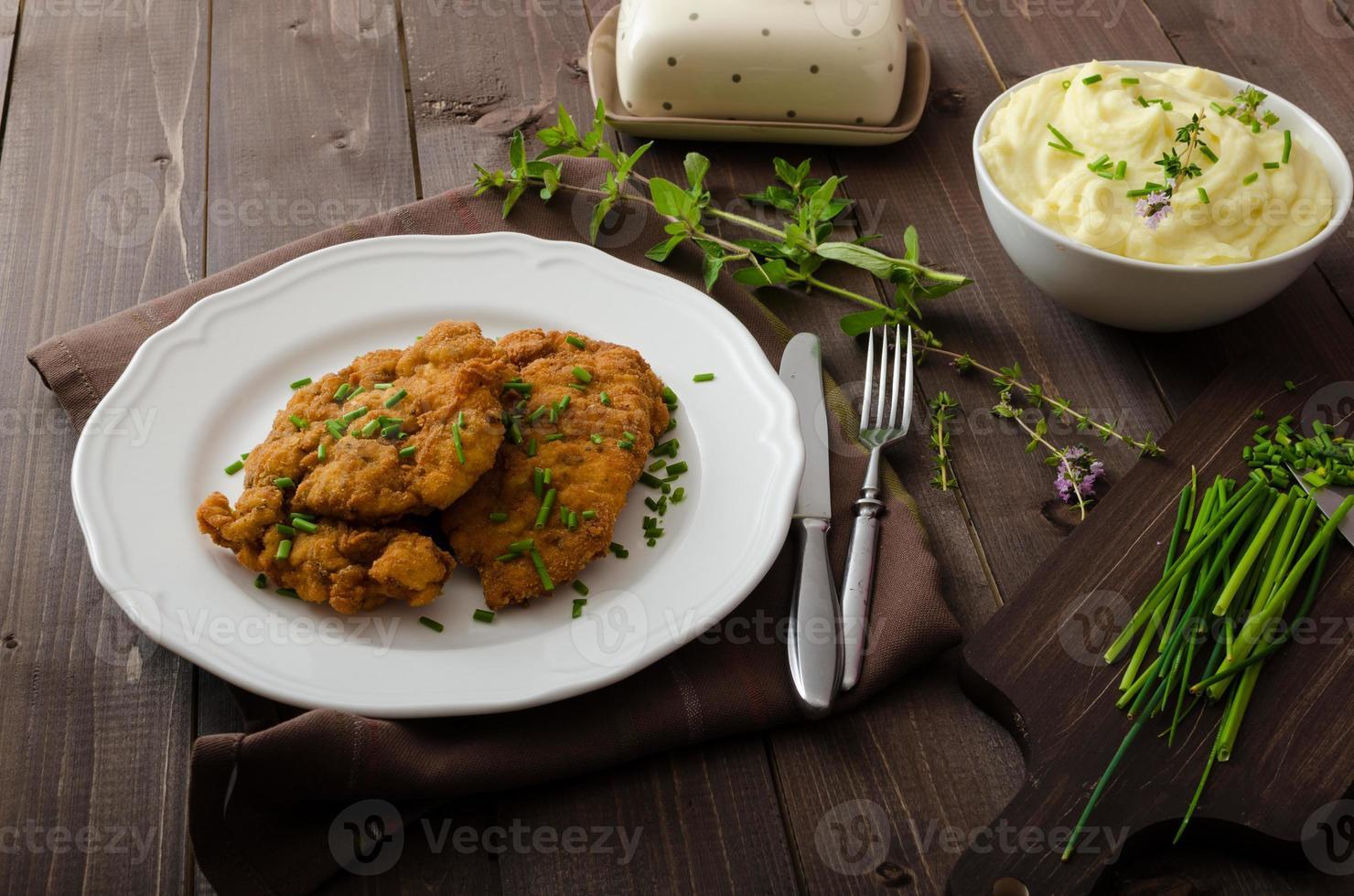 Schnitzel with herbs, photo