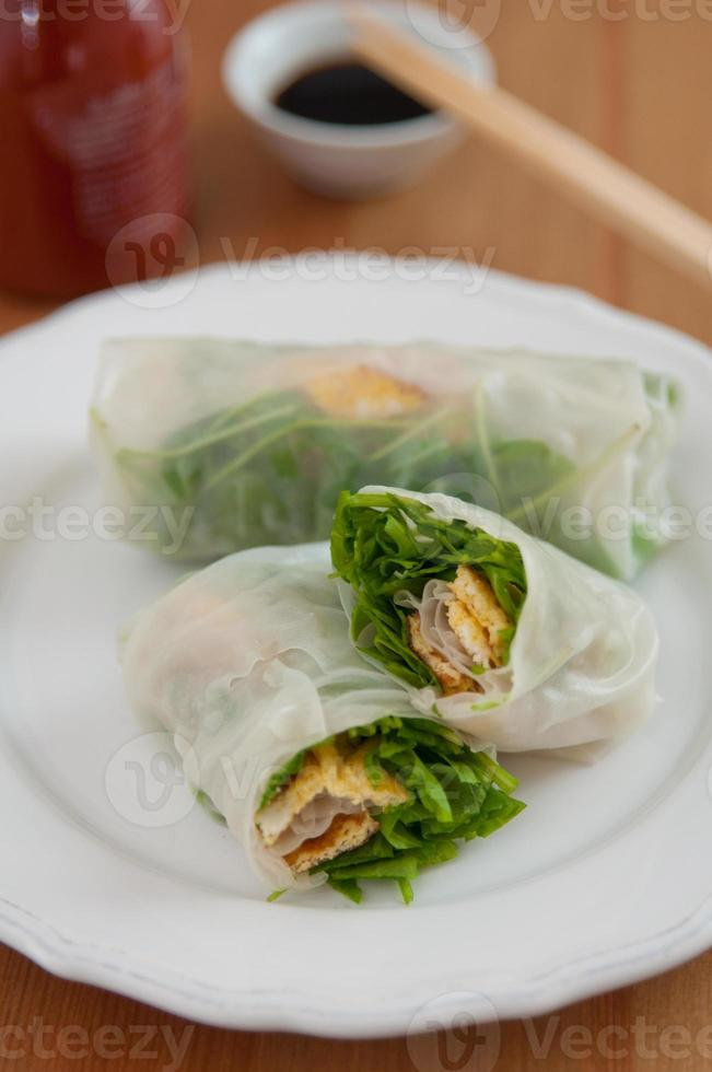 vietnamese spring rolls with egg omlette photo