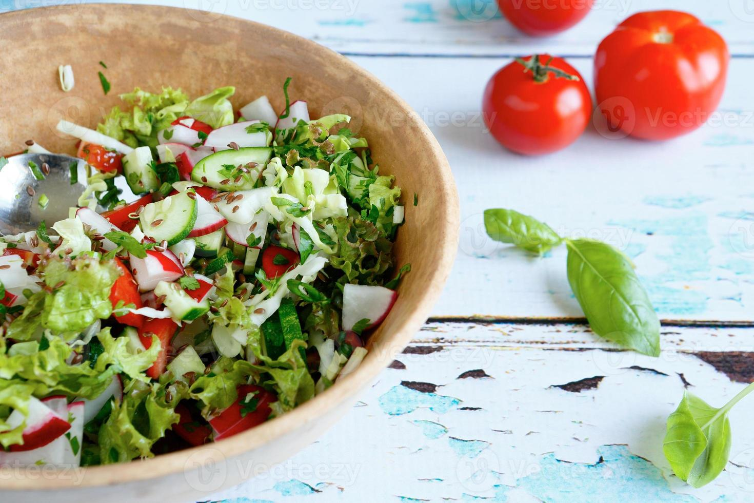 vegetable salad in a large bowl photo