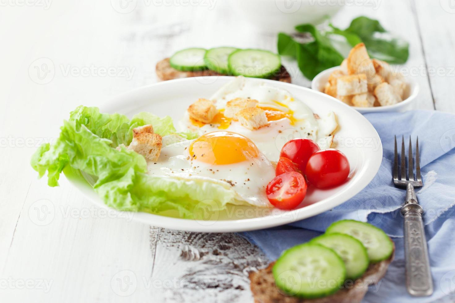 Breakfast with fried egg photo