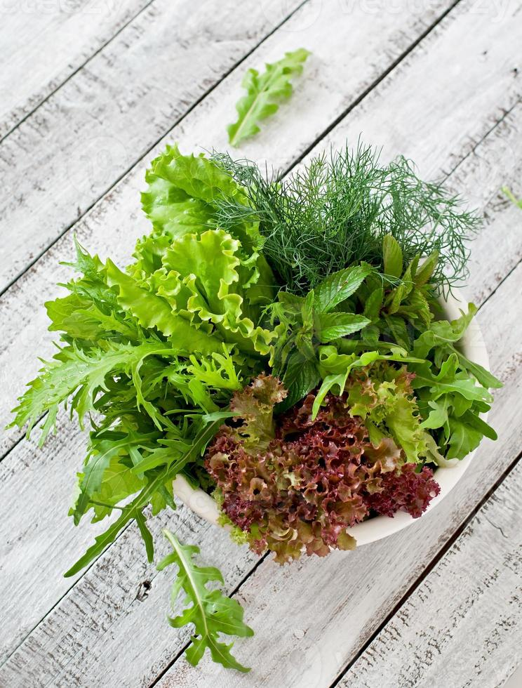 Variety fresh organic herbs (lettuce, arugula, dill, mint, red lettuce) photo