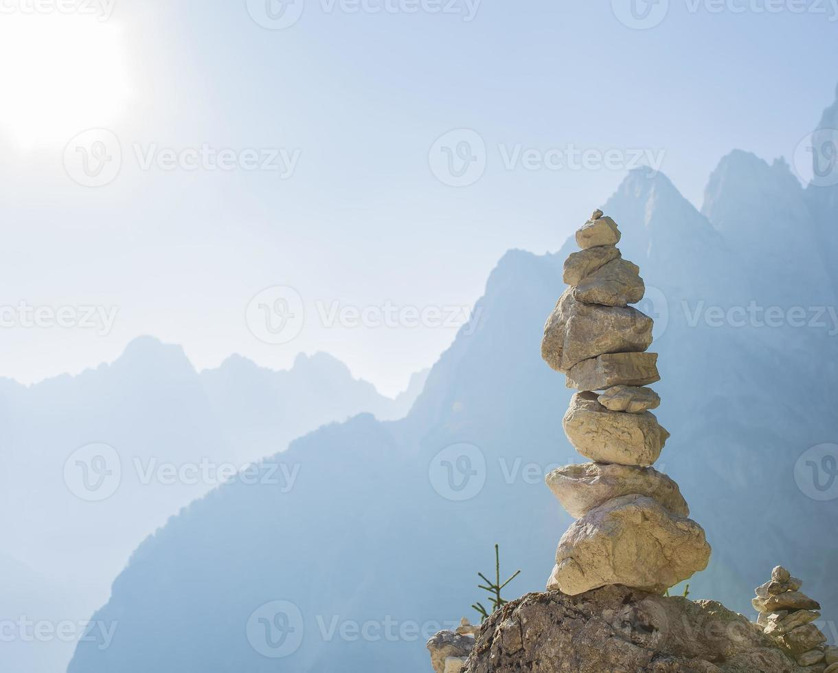 Stacked rock tower photo