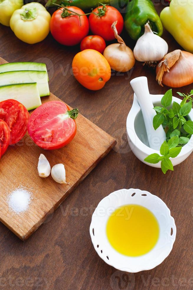Preparing of a healthy meal photo