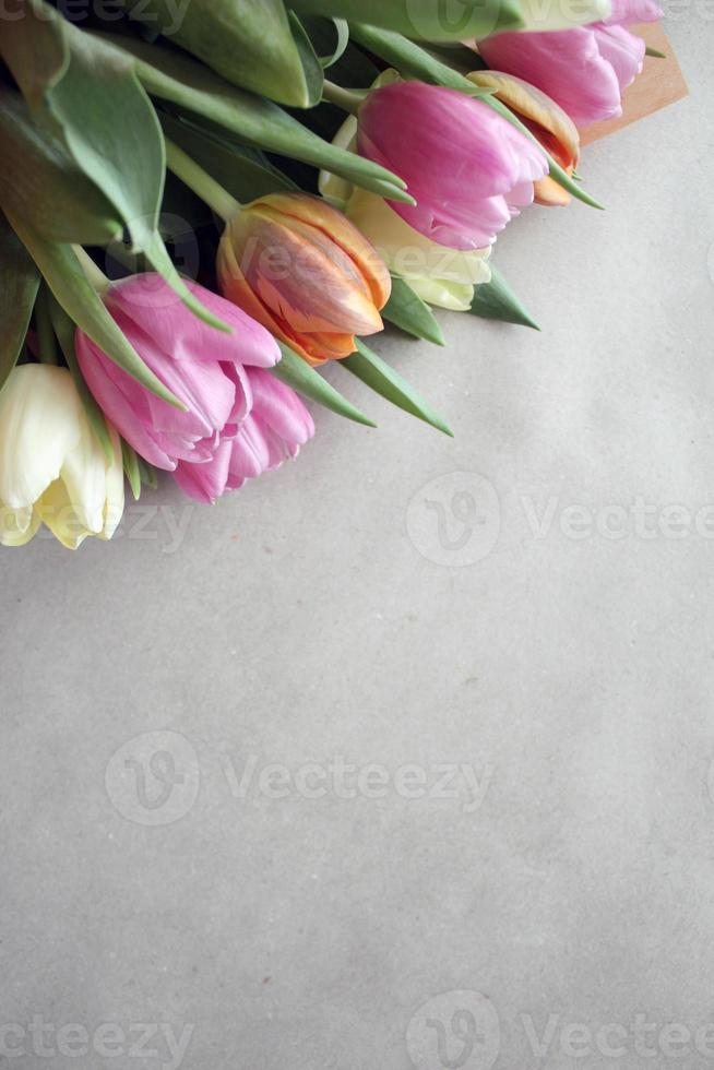 Fresh tulips greeting card for Mothers day photo