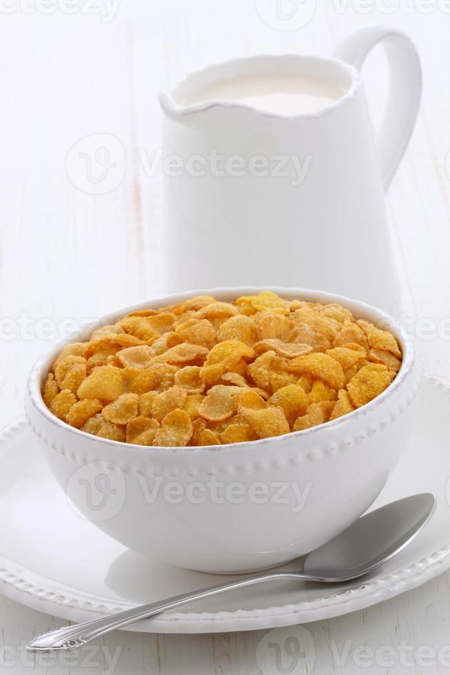 Healthy corn flakes breakfast photo
