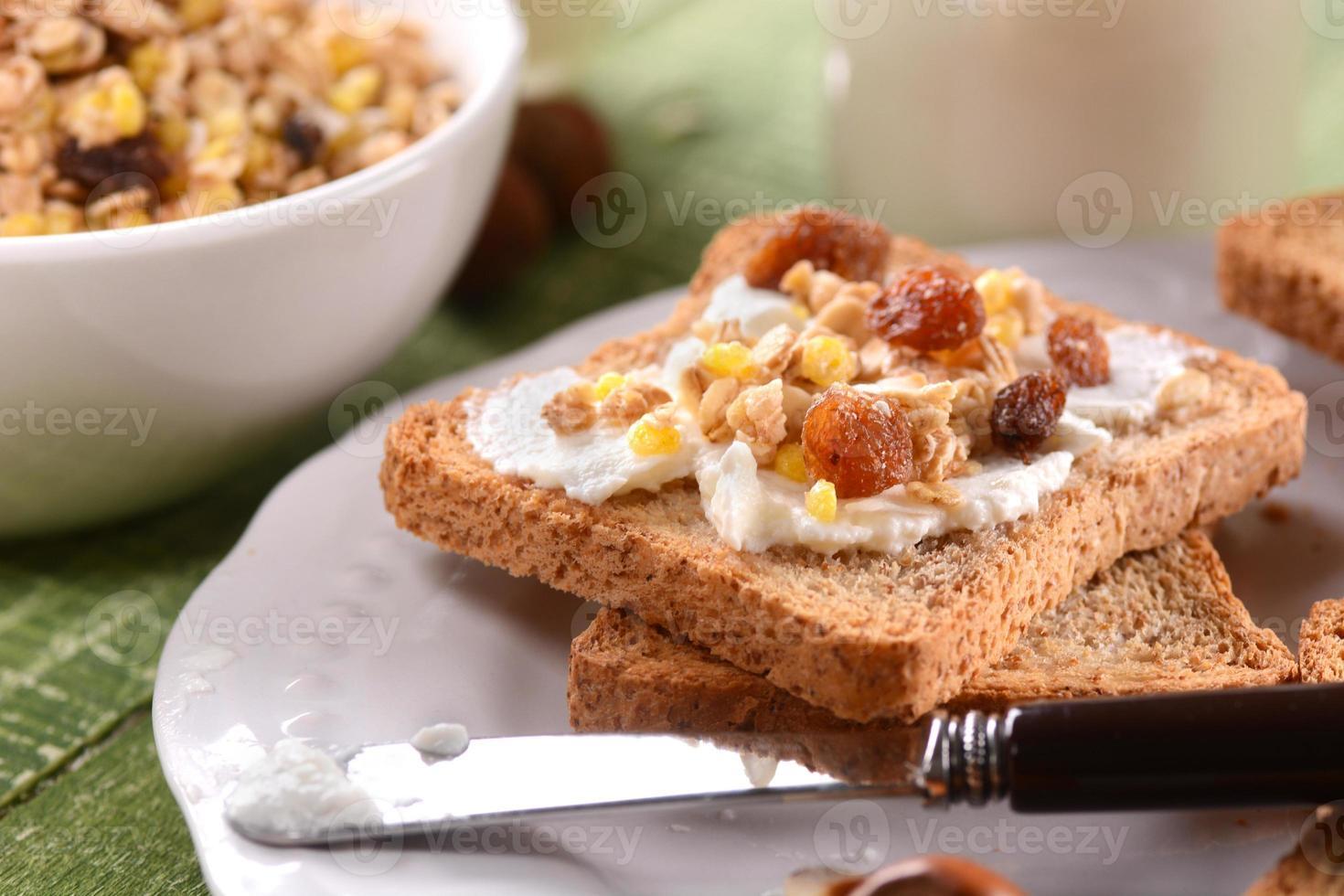 rusk with cream and granola photo