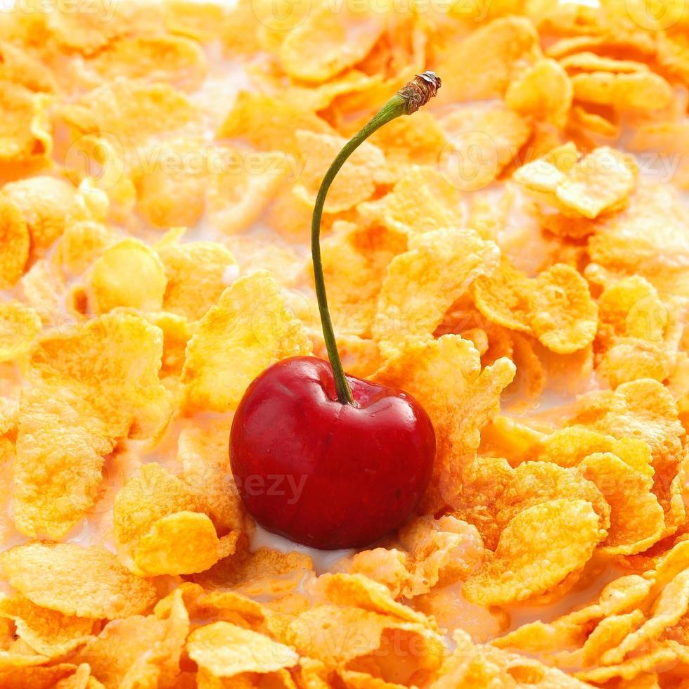 Corn Flakes with cherry photo