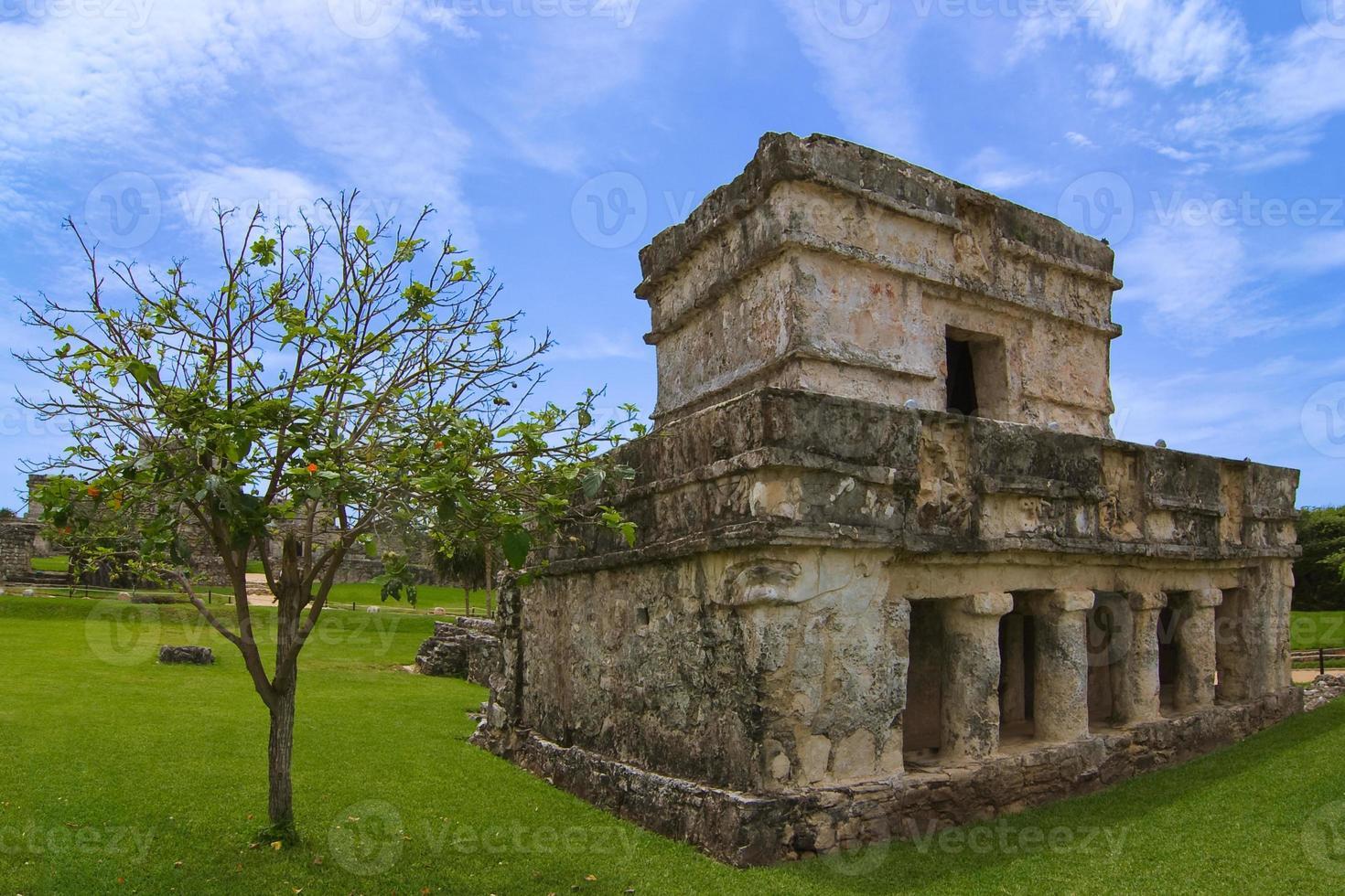 Tulum templo de las pinturas o frescos foto