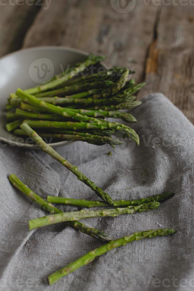 Asparagus on the table photo