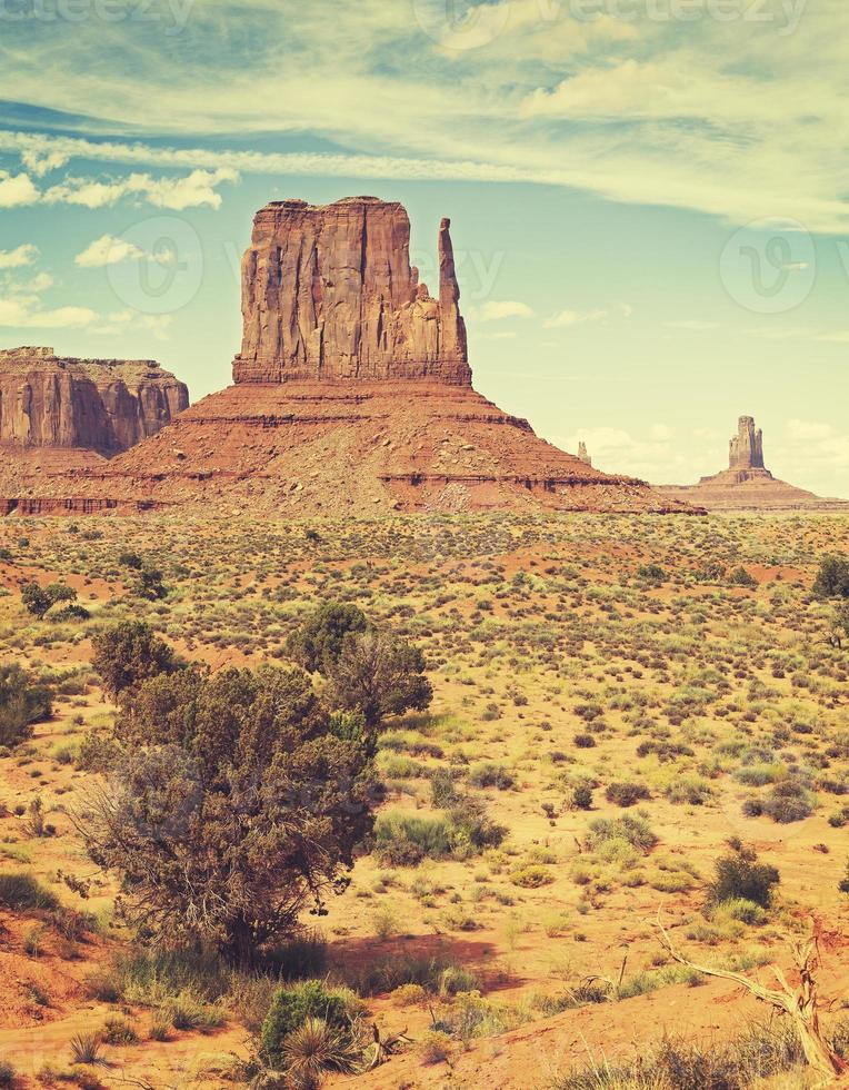 Retro old film style photo of Monument Valley, USA.