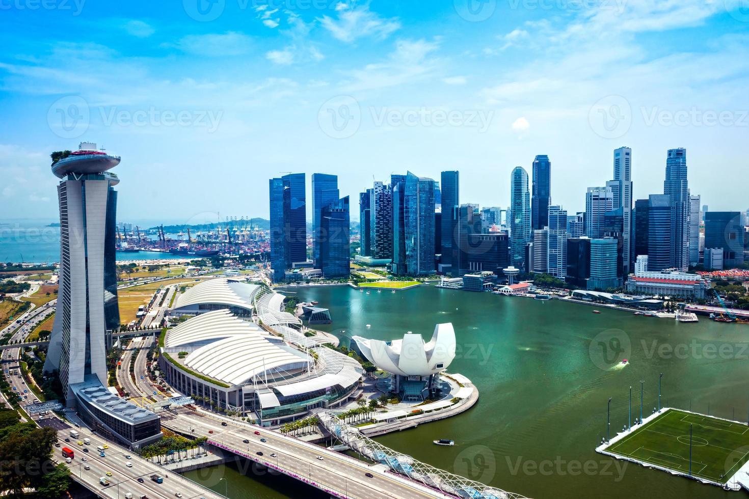 Wide-angle view of Singapore city skyline. photo
