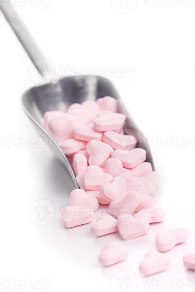 primicia con corazones de caramelo foto
