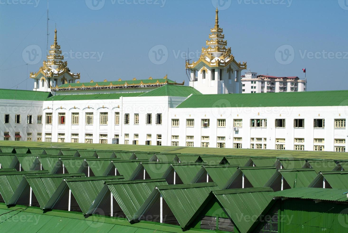 Roof of railway station building in Yangon photo