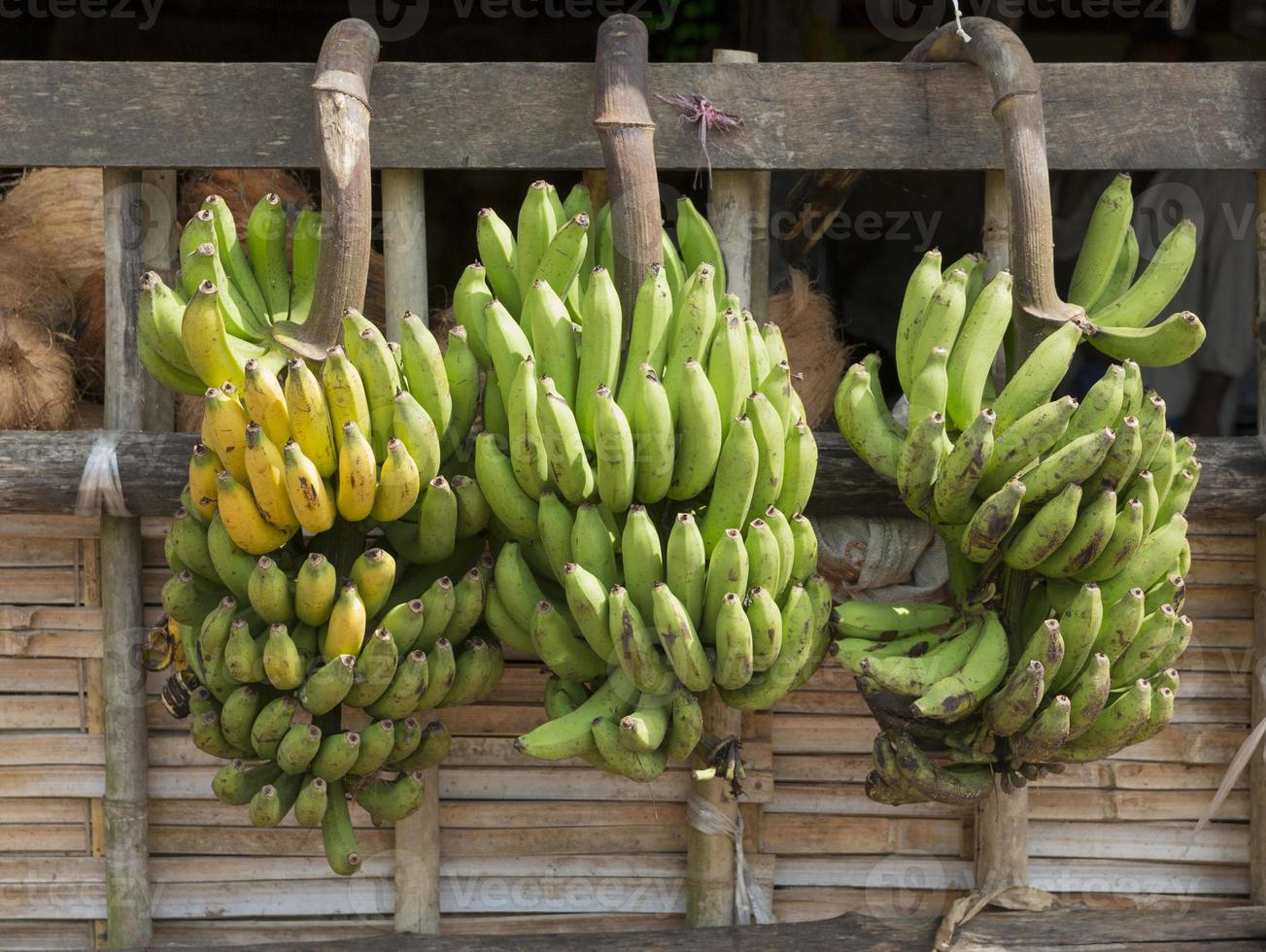Racimos de banano en el mercado mayorista, Yangon, Myanmar foto