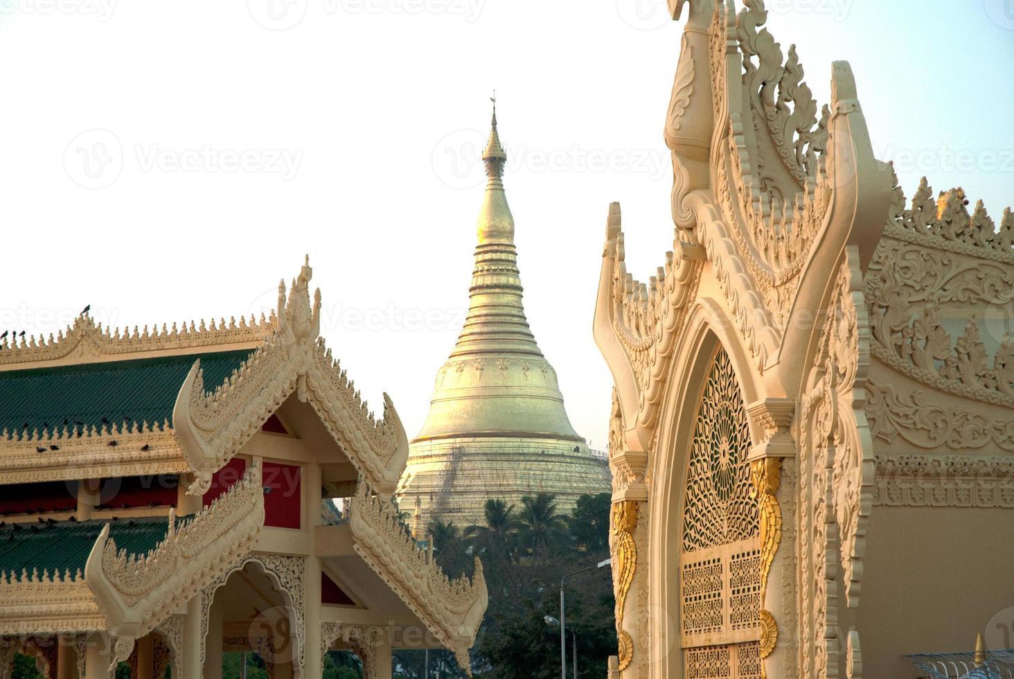 Golden Pagoda in Myanmar temple ,Yangoon. photo