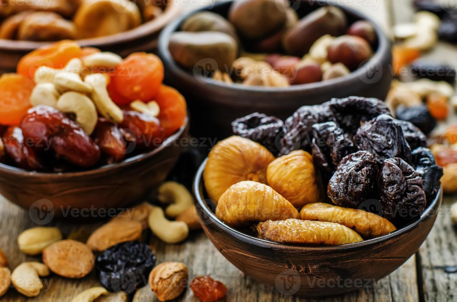 mix of dried fruits and nuts photo