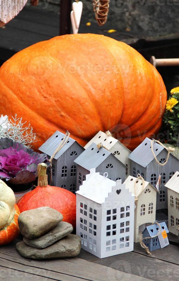 Halloween decorations with pumpkin photo