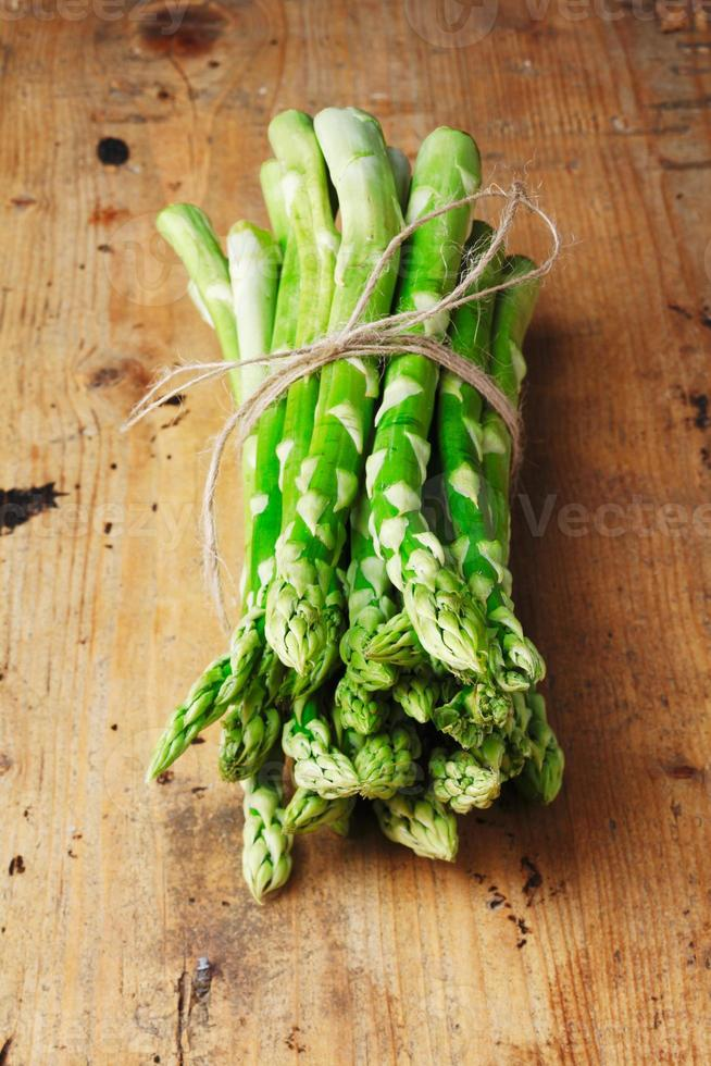 Bunch of fresh green asparagus spears photo