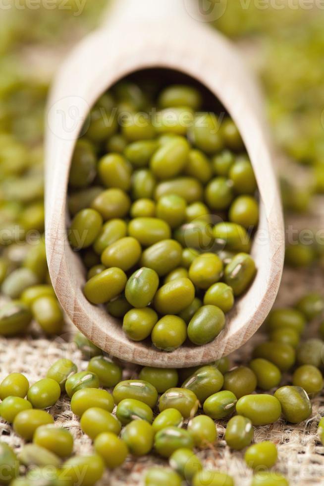 Comida sana judías verdes en cuchara de madera en vintage foto