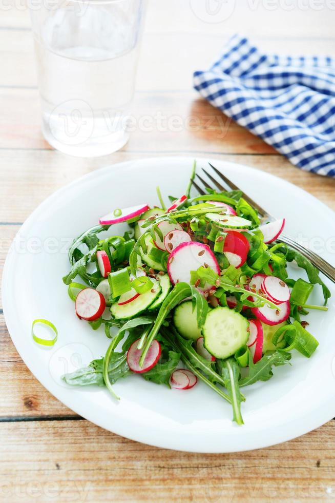 crispy salad with cucumber and radish photo