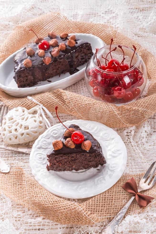 chocolate Walnut cake with cherries photo