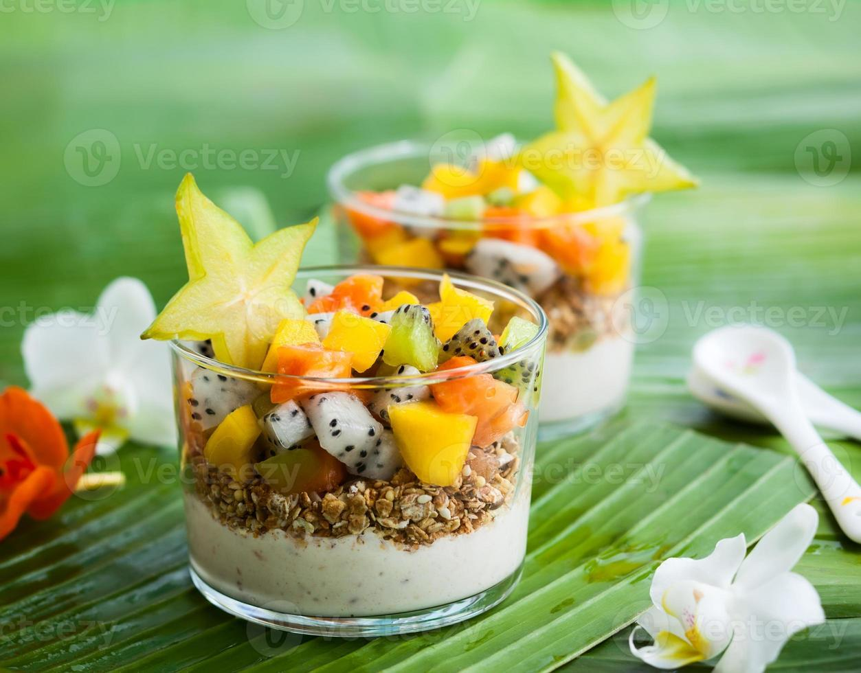 breakfast with exotic fruits photo