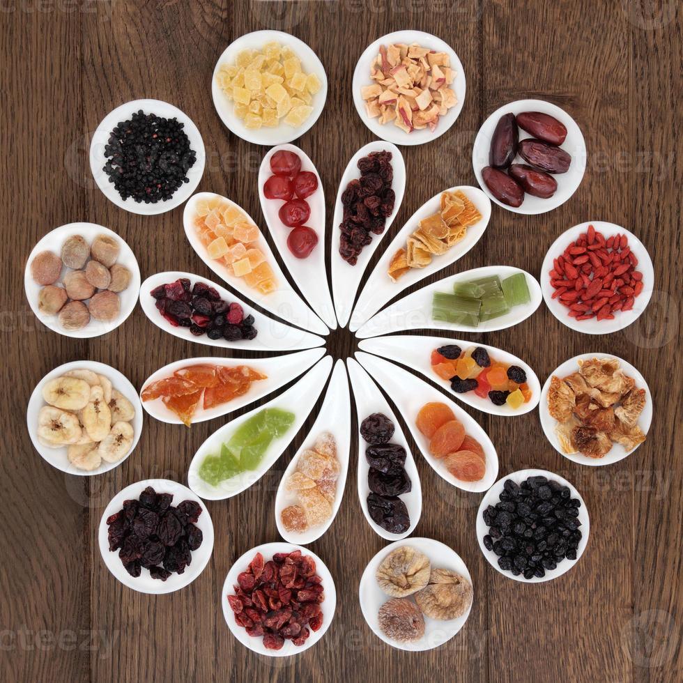 muestra de frutas secas foto