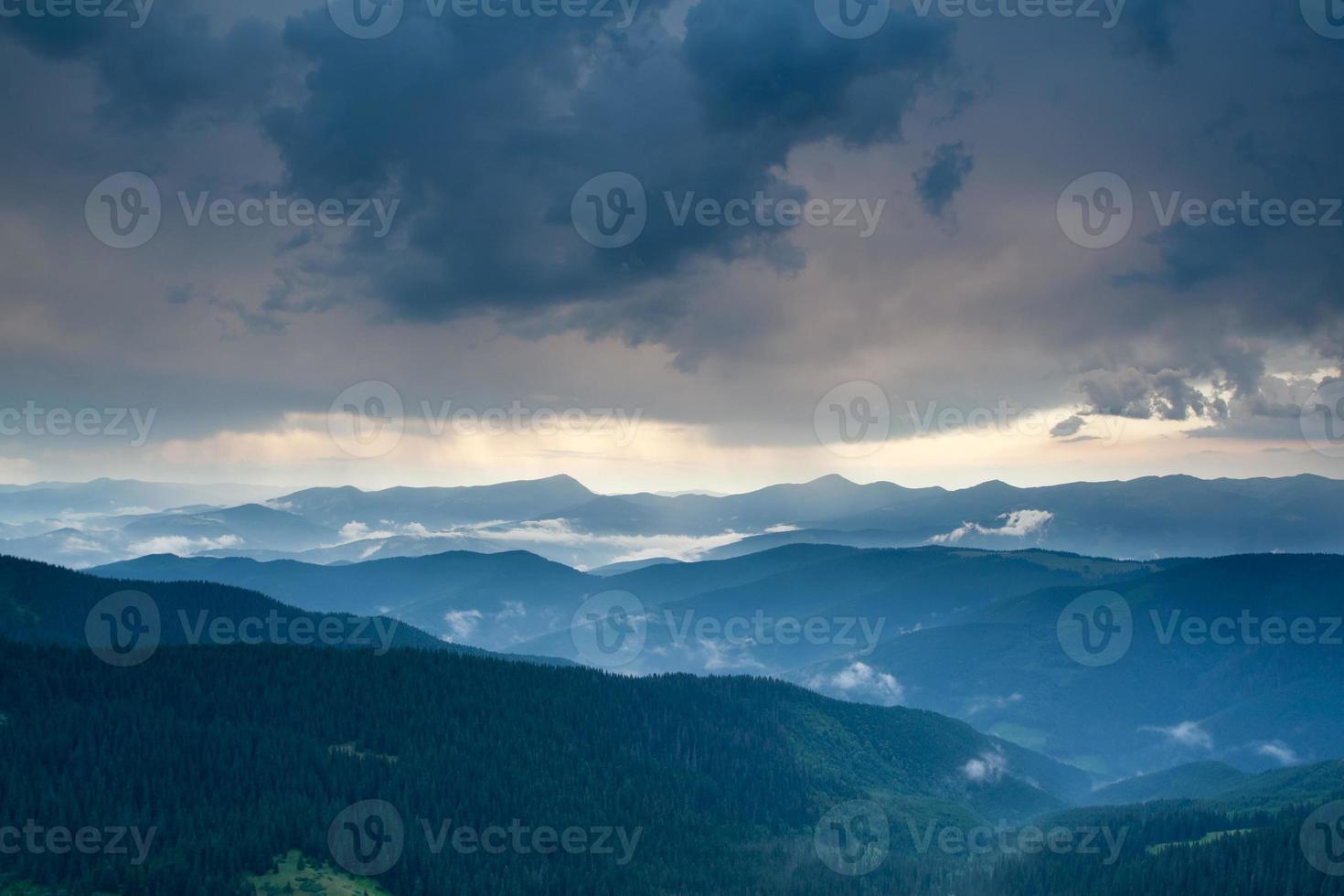 Carpathian mountain landscape after rain photo