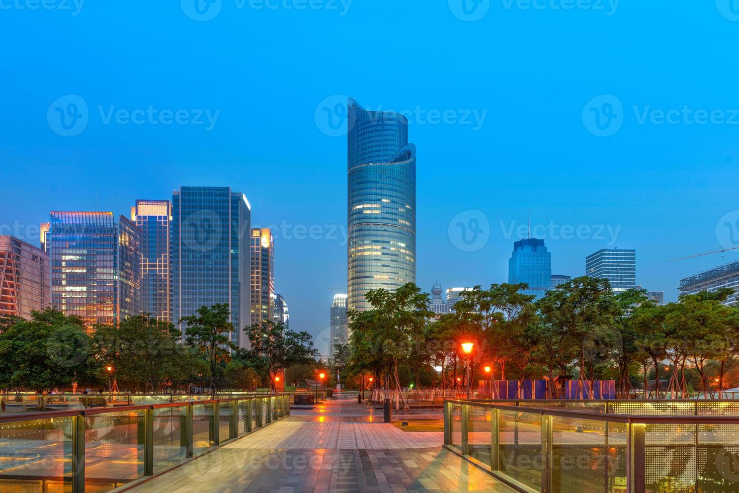 China Hangzhou skyscrapers, night landscape. photo