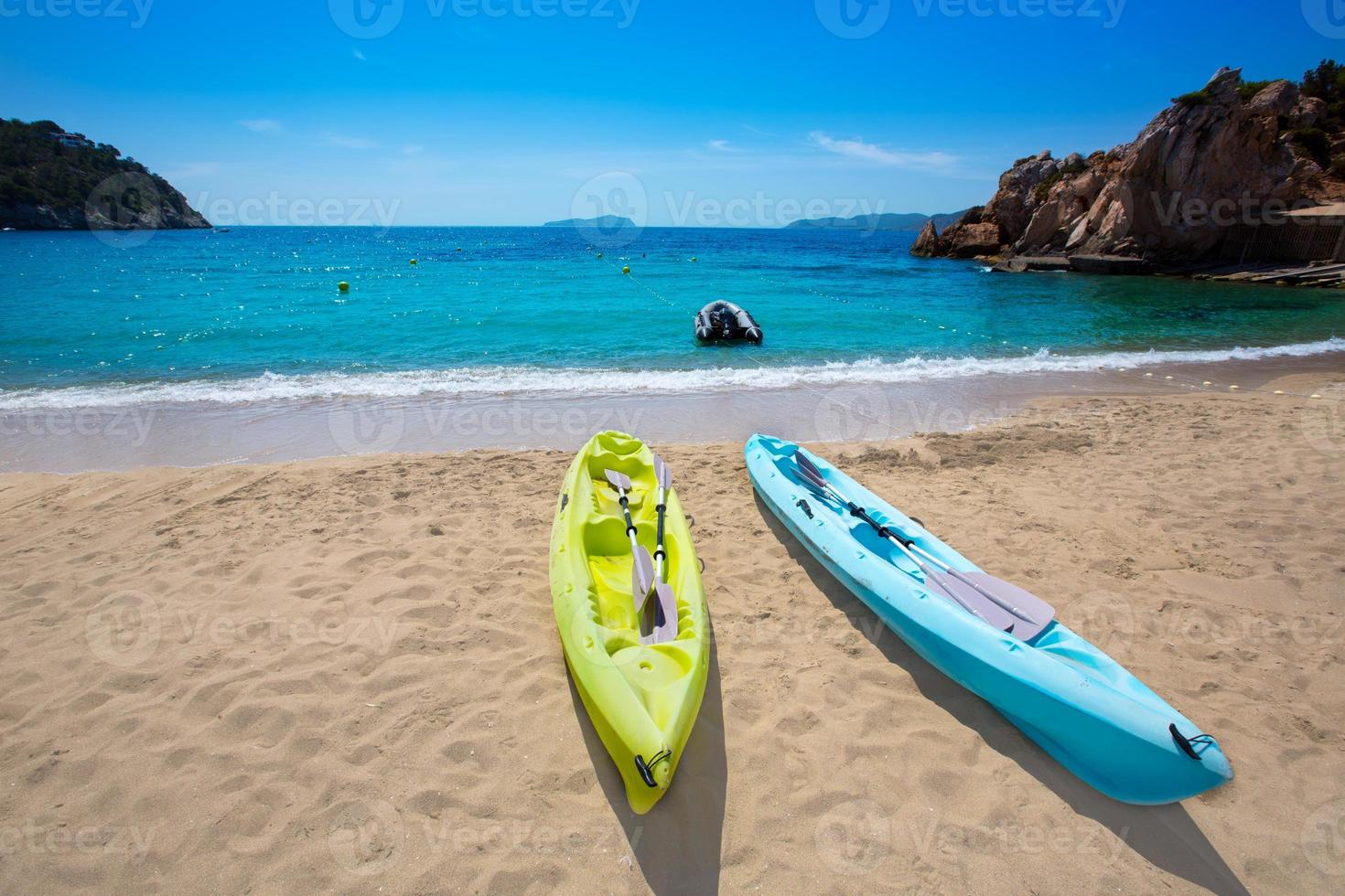 Ibiza cala Sant Vicent beach with Kayaks san Juan photo