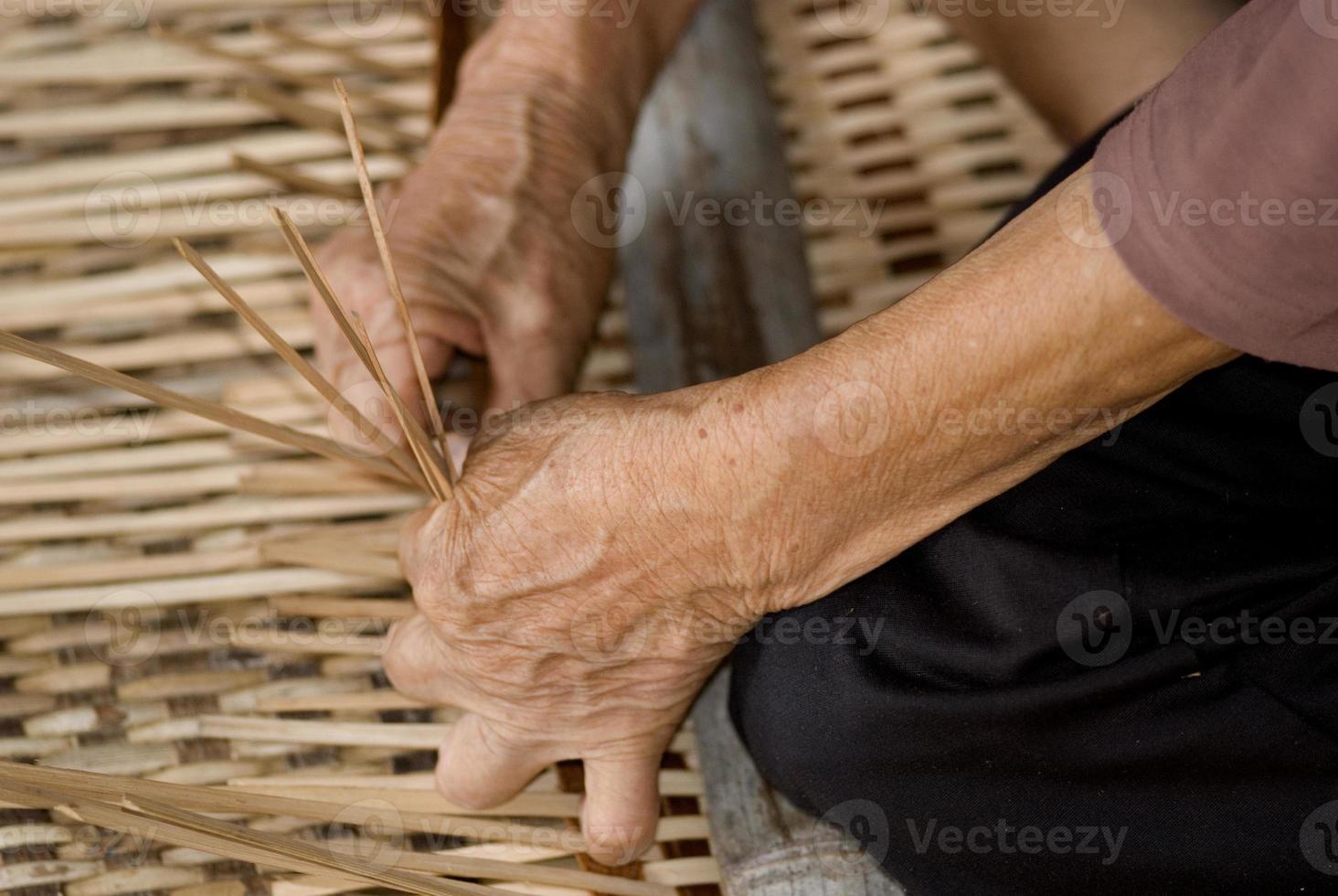 Working with rattan, Annah Rais, Sarawak, Borneo, Malaysia photo