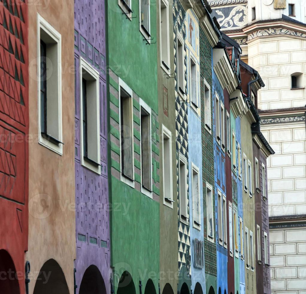 Row of colorful old houses in Poznan photo