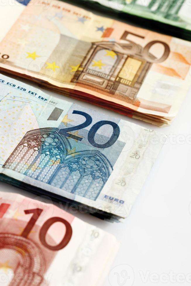 Various Euro bank notes in a row photo