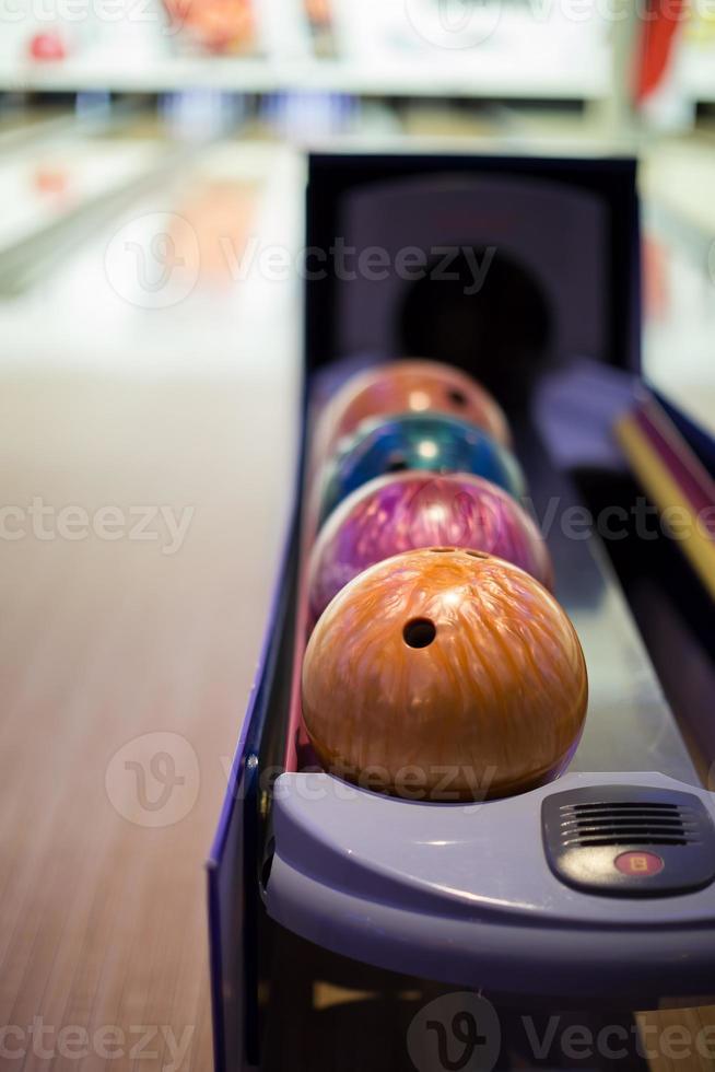 Close up of bowling balls photo