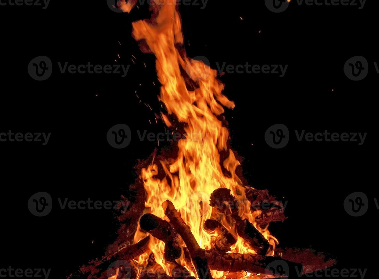 Fire in Winter - Night photo