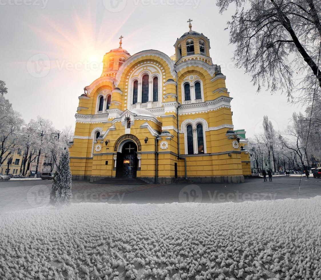Vladimirskiy in winter temple photo