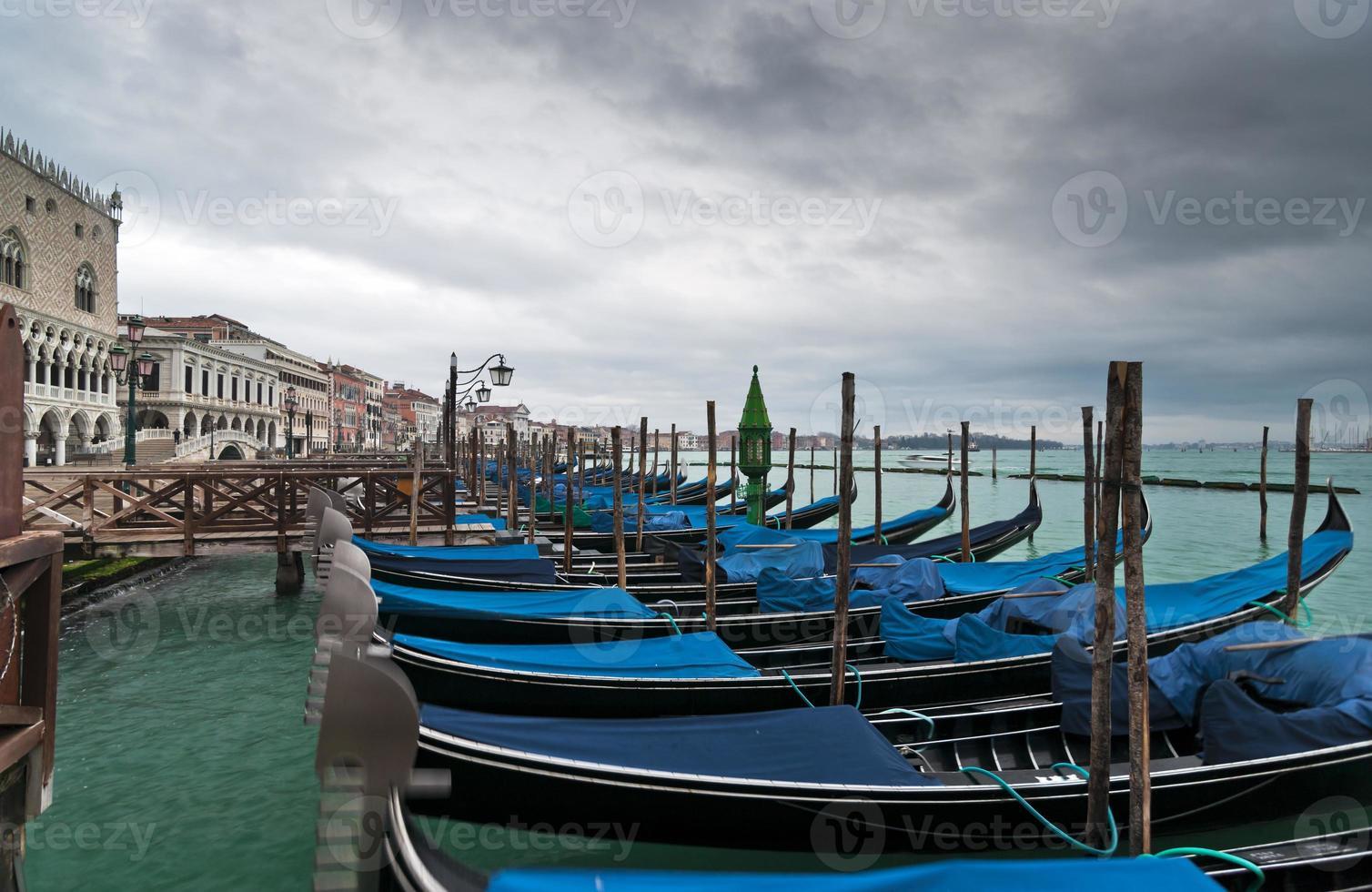 Gondolas in winter Venice photo