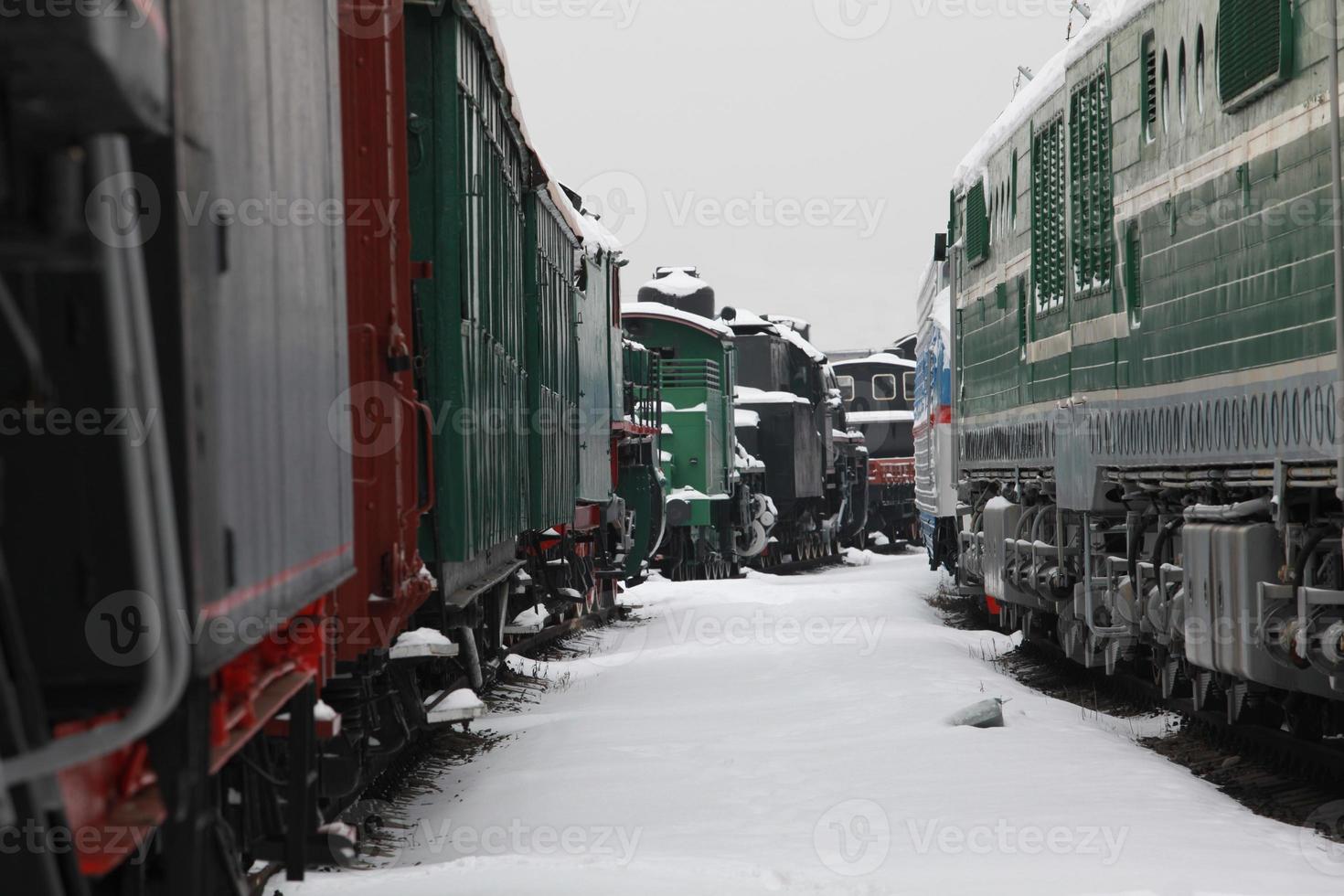 estación de ferrocarril en invierno foto