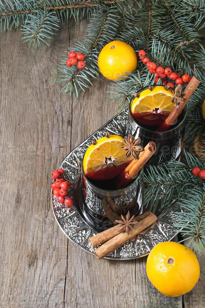 Hot mulled wine, winter  drink photo