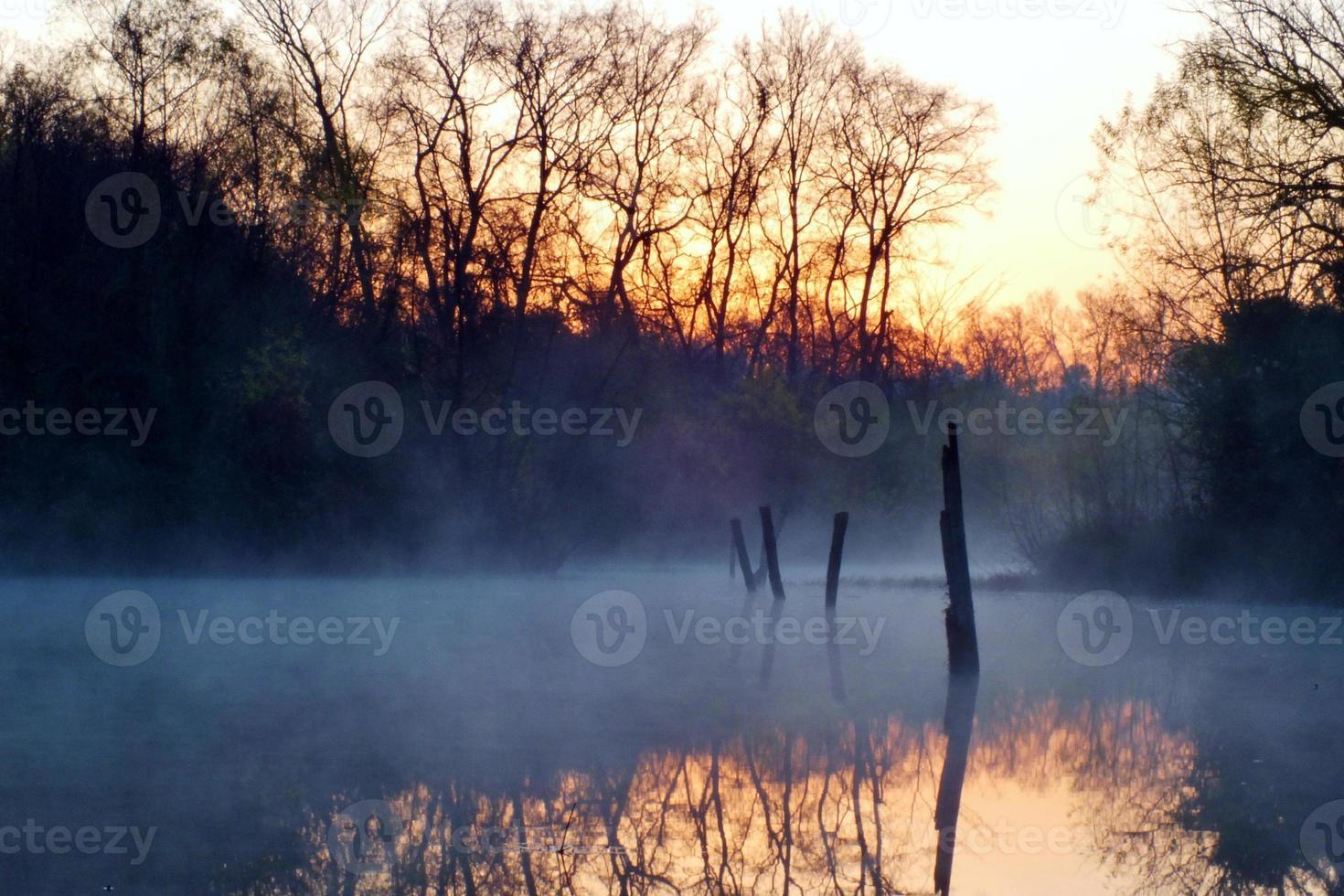 lago da manhã foto