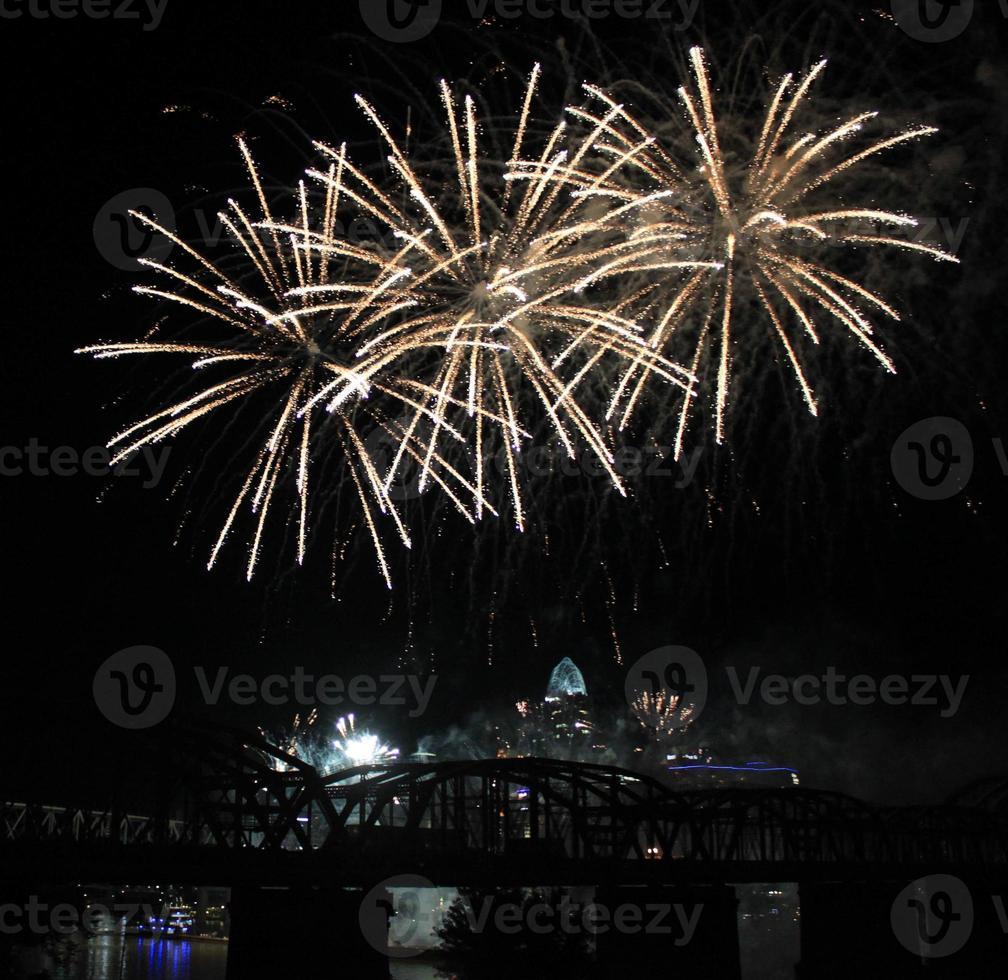 White Fireworks Over the Cincinnati Skyline, Three Large Diagonal Bursts photo