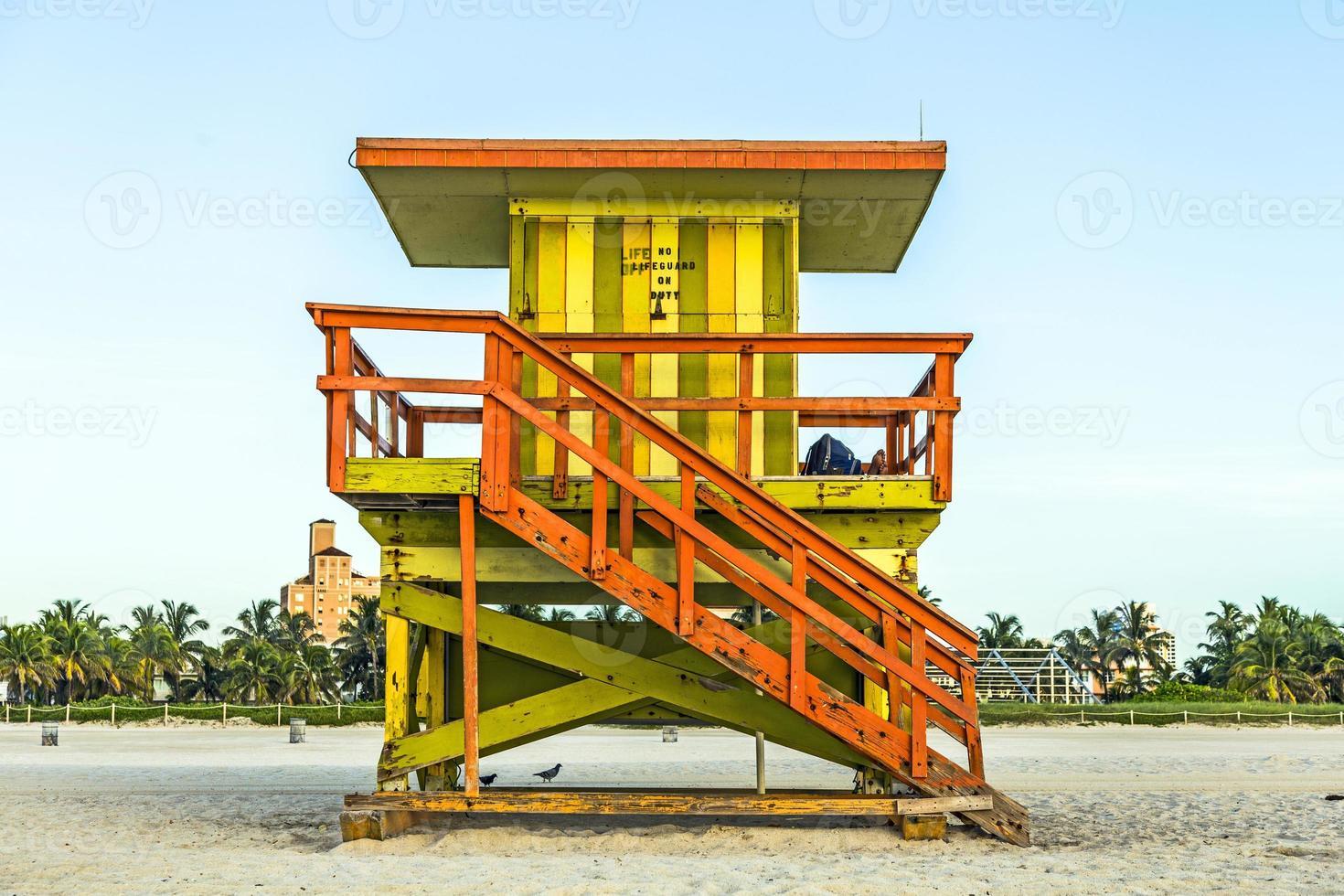 Torre de salvavidas en South Beach, Miami, Florida foto
